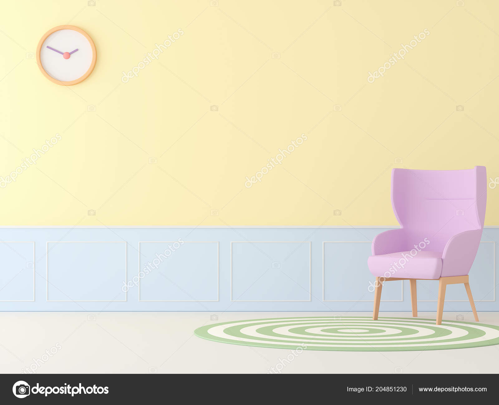 Pastel Living Room Pink Chair Render White Floor Yellow Blue — Stock ...