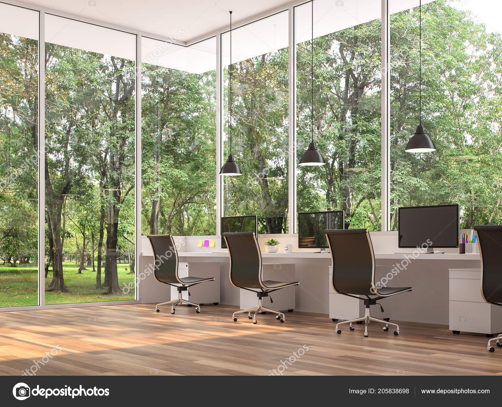 Bureau moderne avec nature vue render sont des plancher bois
