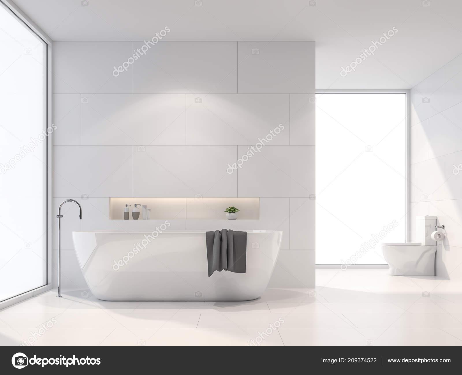 Moderne Witte Badkamer : Moderne witte badkamer render zijn witte tegel wand vloer kamer