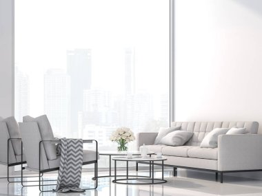 Modern white living room with city view 3d render,Decorate with white fabric and black metal furniture ,The room has large windows,Sunlight shines into the room.