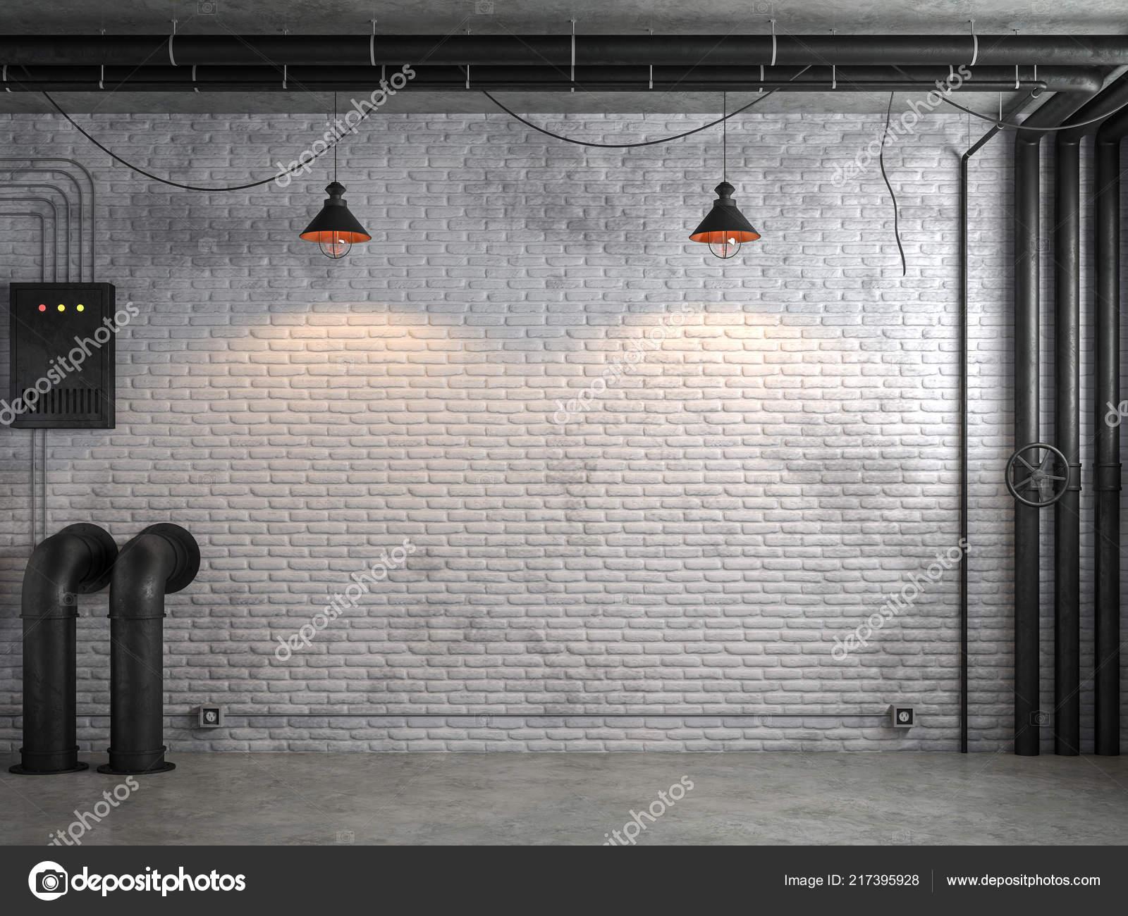 Style Loft Industriel Vide Chambre Avec Mur Brique Blanche Render ...