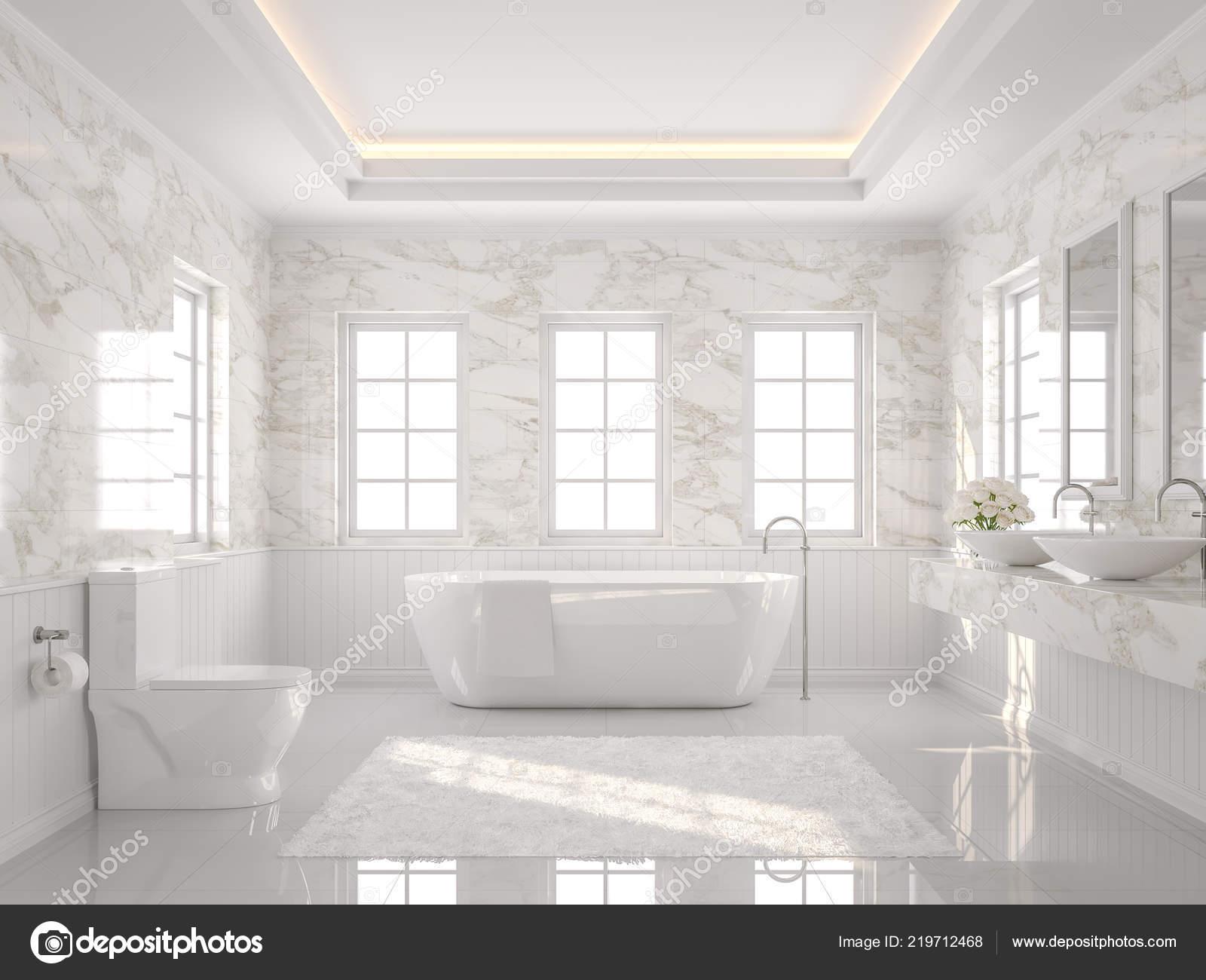 Rendu Luxe Blanc Salle Bain Carrelage Blanc Mur Marbre ...