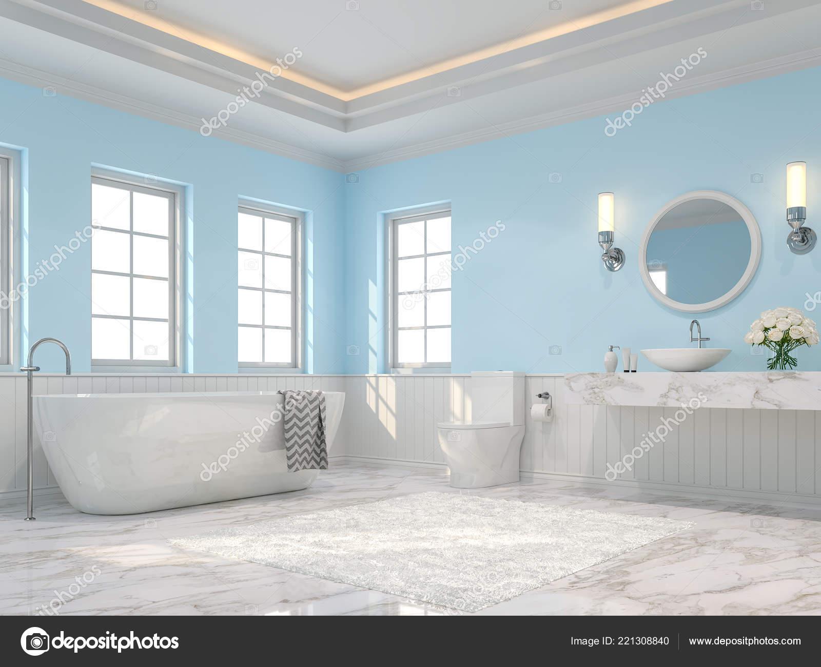 Rendu Luxe Salle Bain Sont Des Sol Marbre Blanc Mur — Photographie ...