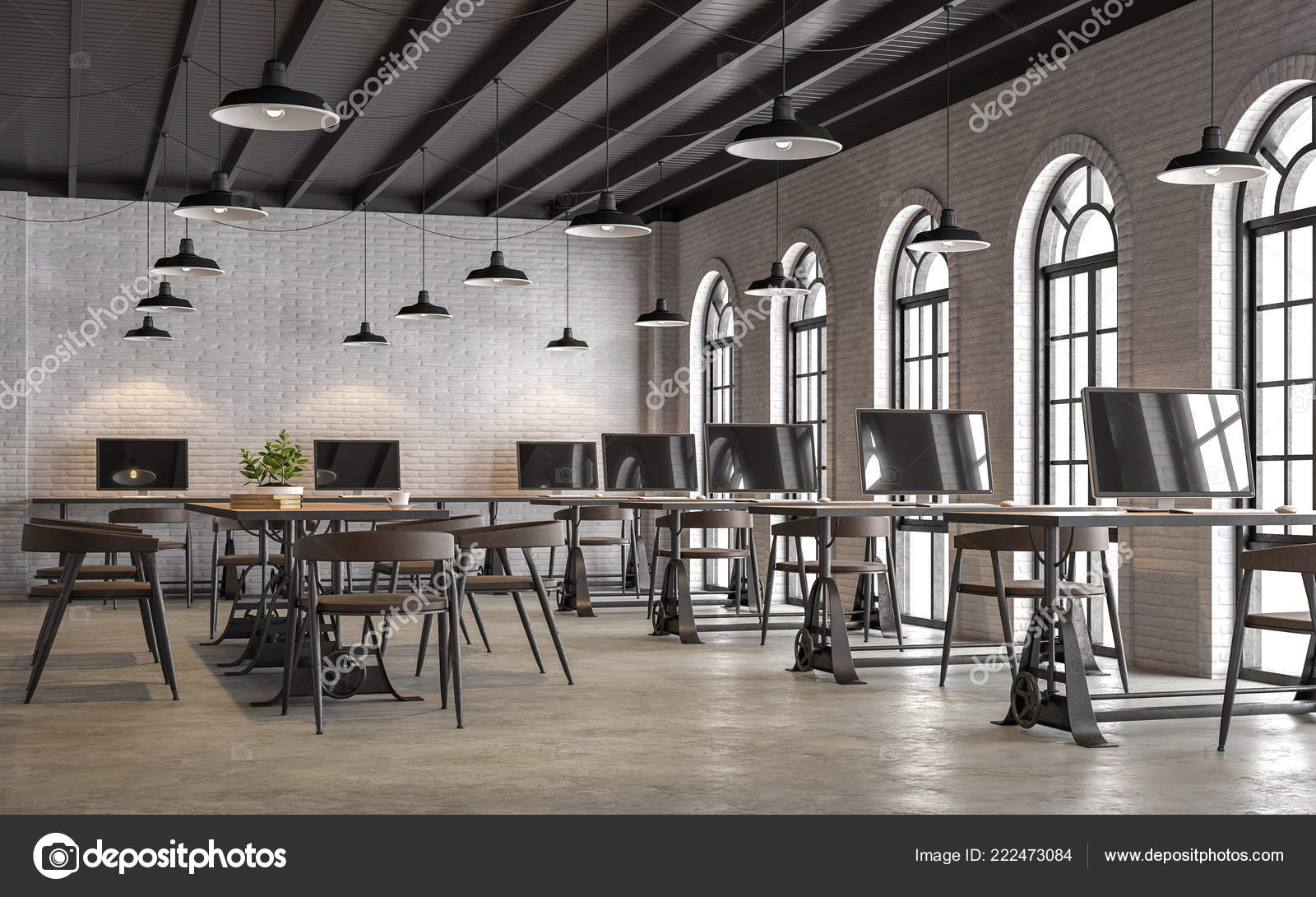 Bureau style loft industriel avec arch forme fenêtre render sont