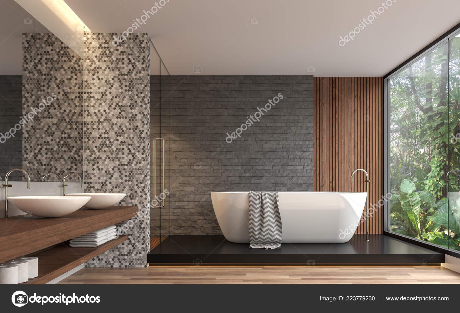 Rendu Moderne Salle Bain Contemporaine Des Mur Brique Pierre