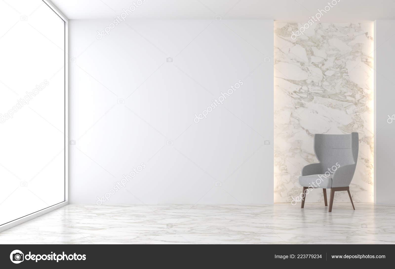 Minimale Wohnzimmer Render Dort Sind Marmorboden Weisse Wand