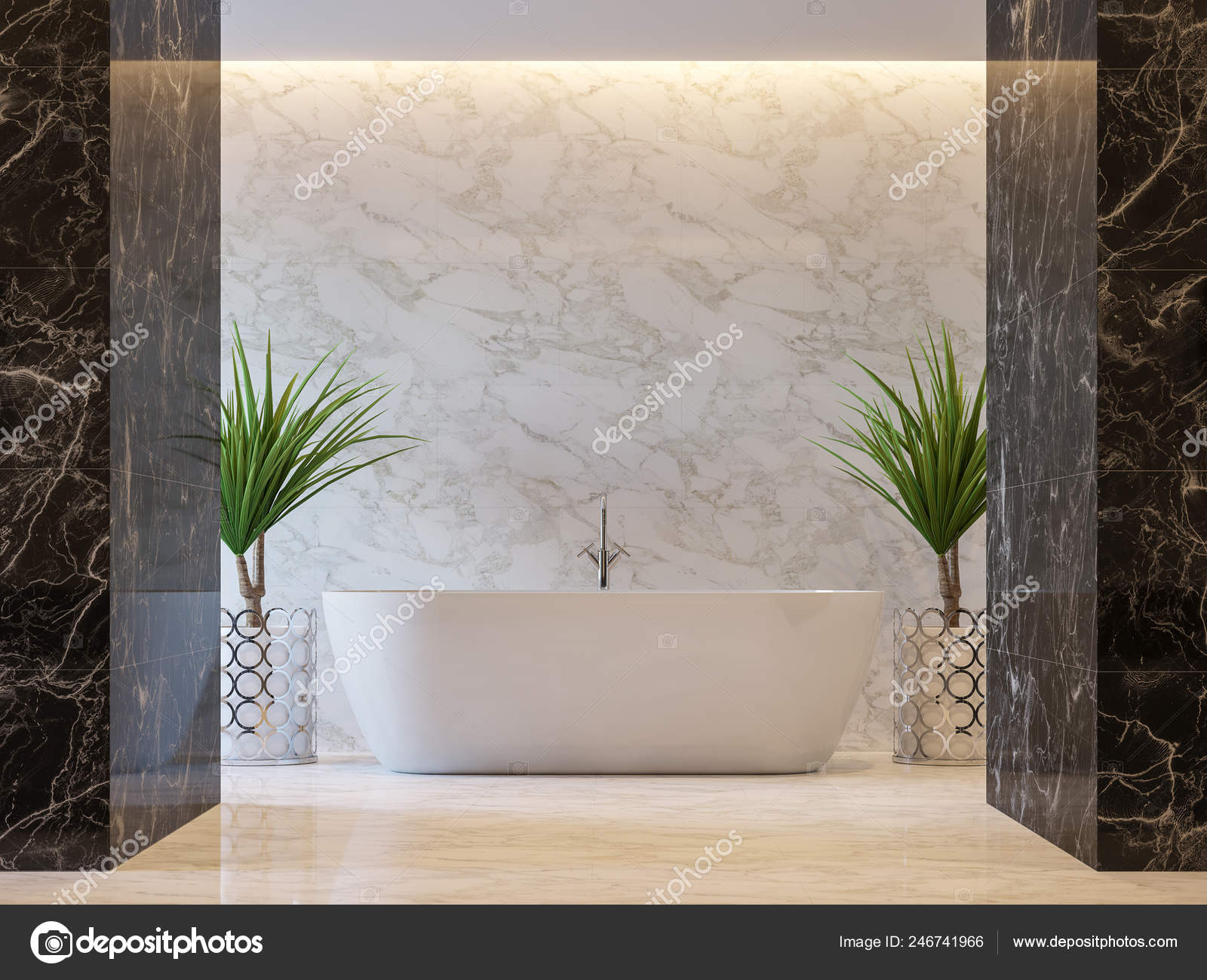 Black And Gold Marble Bathroom Luxury Bathroom Render Black White Marble Tile Wall Floor Decorate Stock Photo C Onzon 246741966