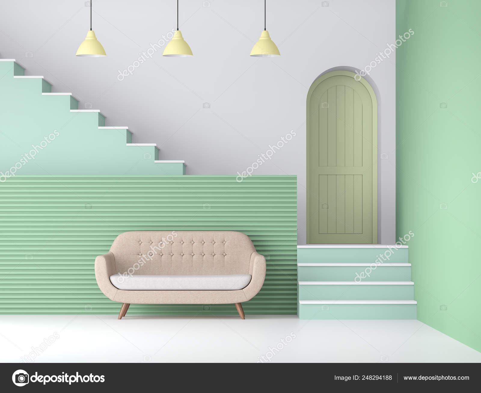 Pavimento Bianco Colore Pareti : Colore pastello soggiorno render sono pavimento bianco parete