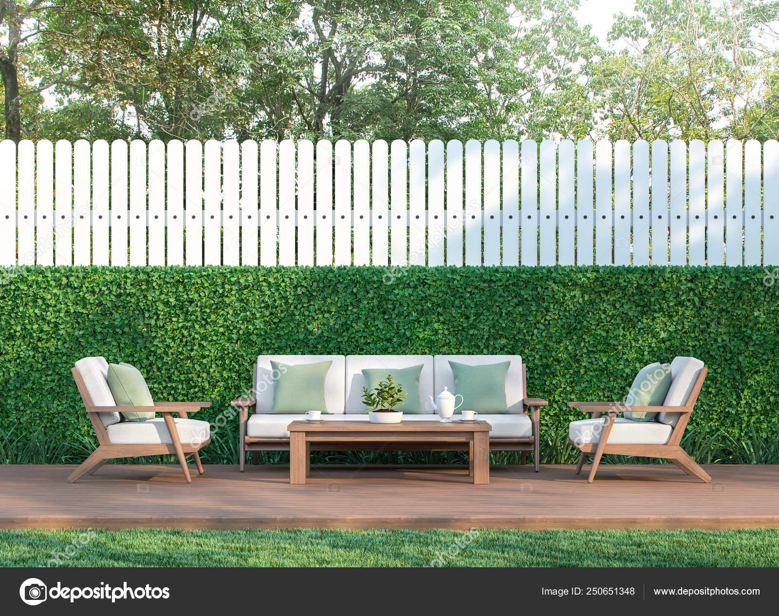 Viviendo Jardín Render Hay Una Cerca Terraza Blanco Piso