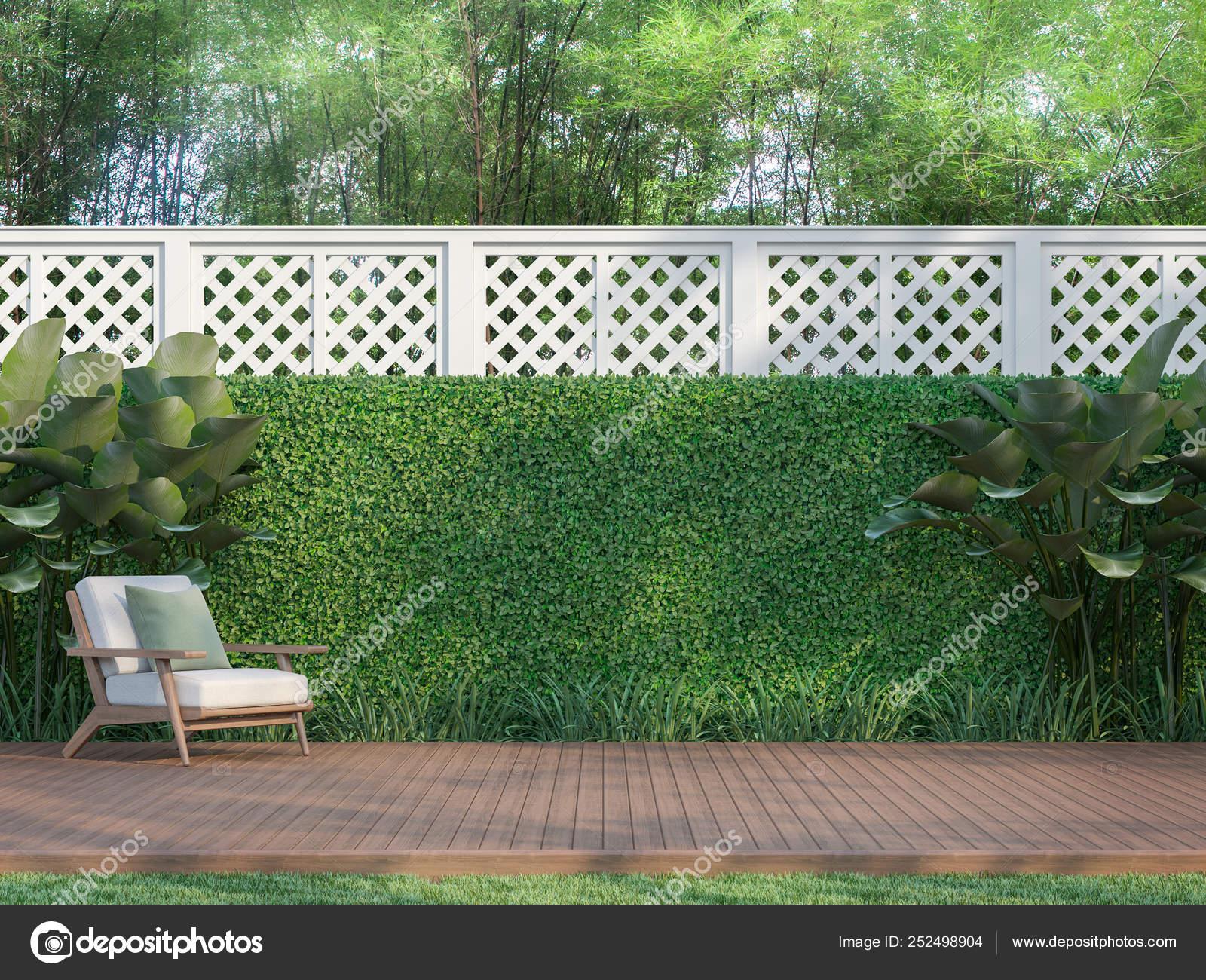 Terrazza Legno All Aperto Nel Giardino Rendering Recinto