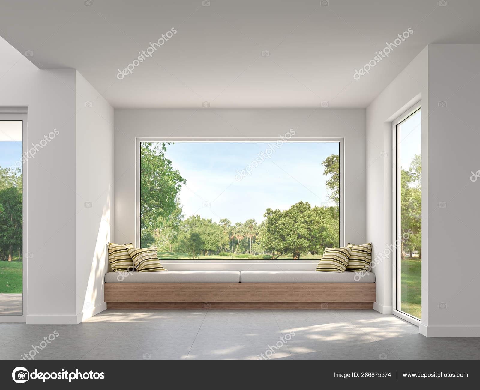 Modern Living Room Garden View Render White Wall Concrete Tile