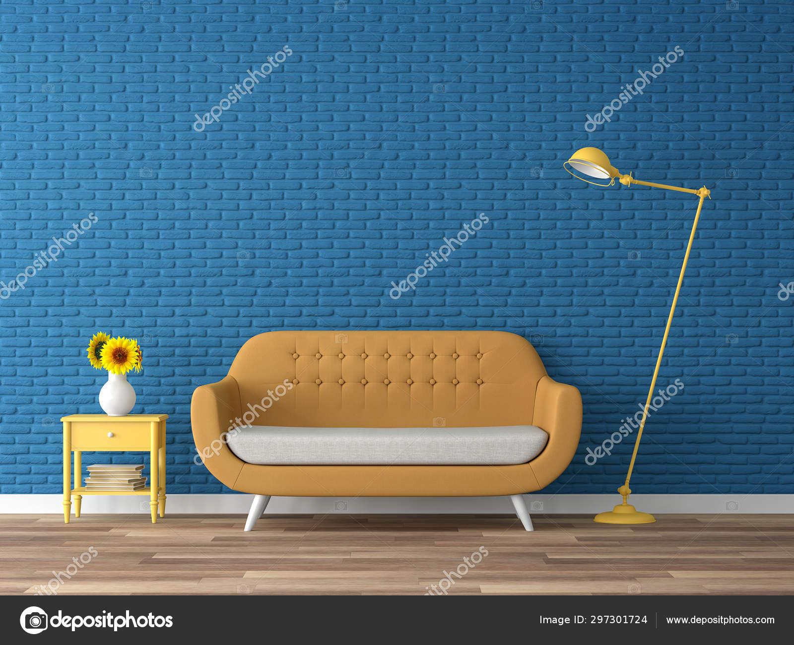 Colorful Living Room Render Wood Floor Navy Blue Empty Brick