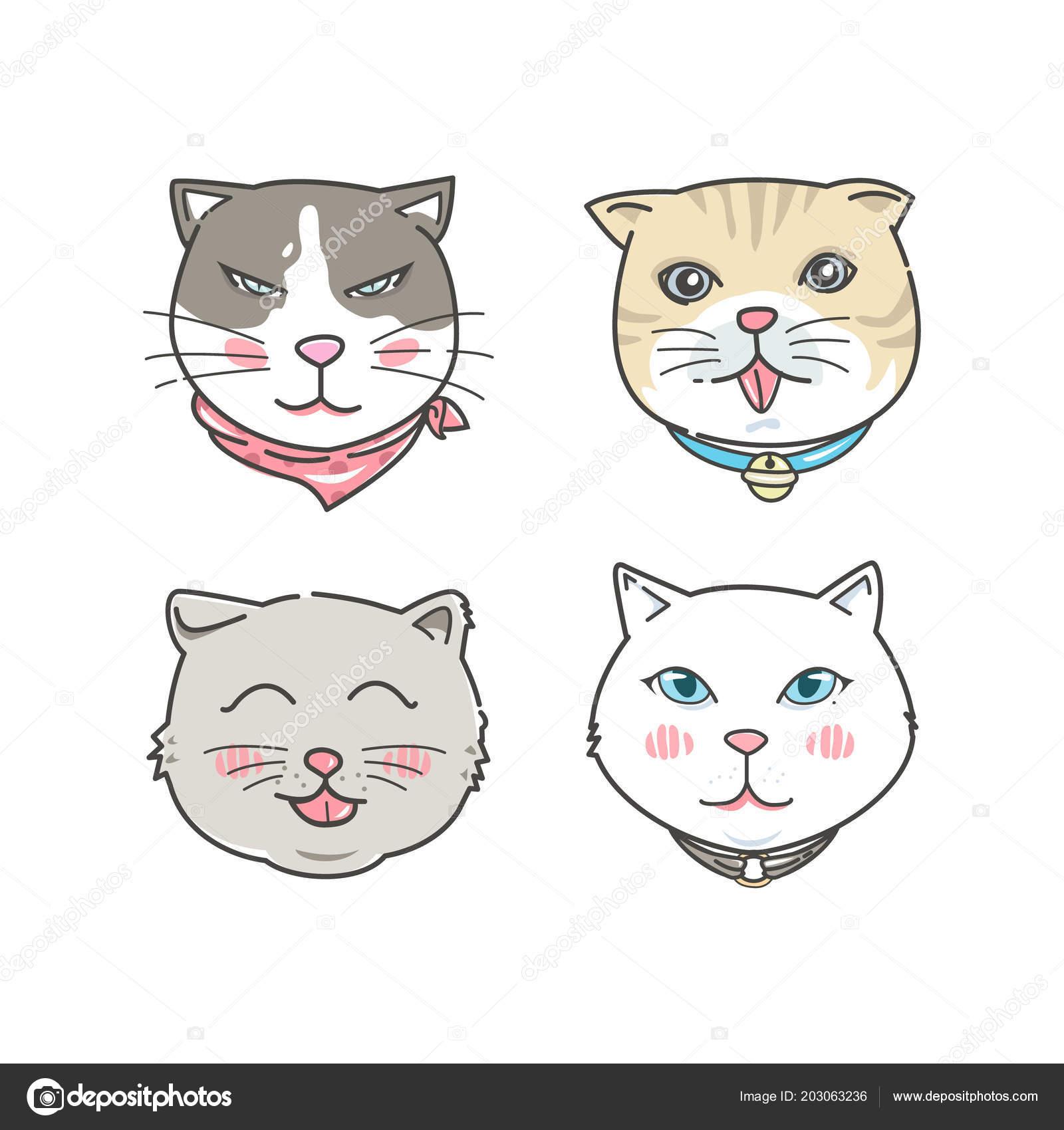Cartoon Cat Faces Set Hand Drawn Style Stock Vector