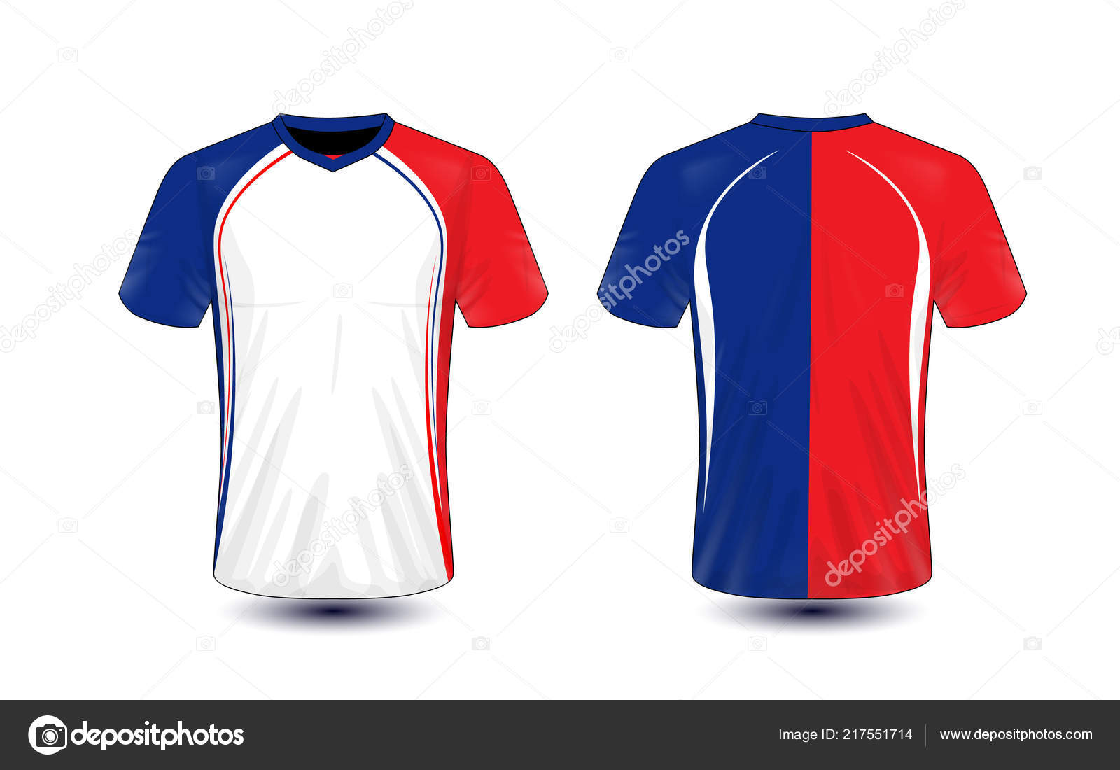 White Blue Red Layout Sport Shirt Design Template Stock Vector