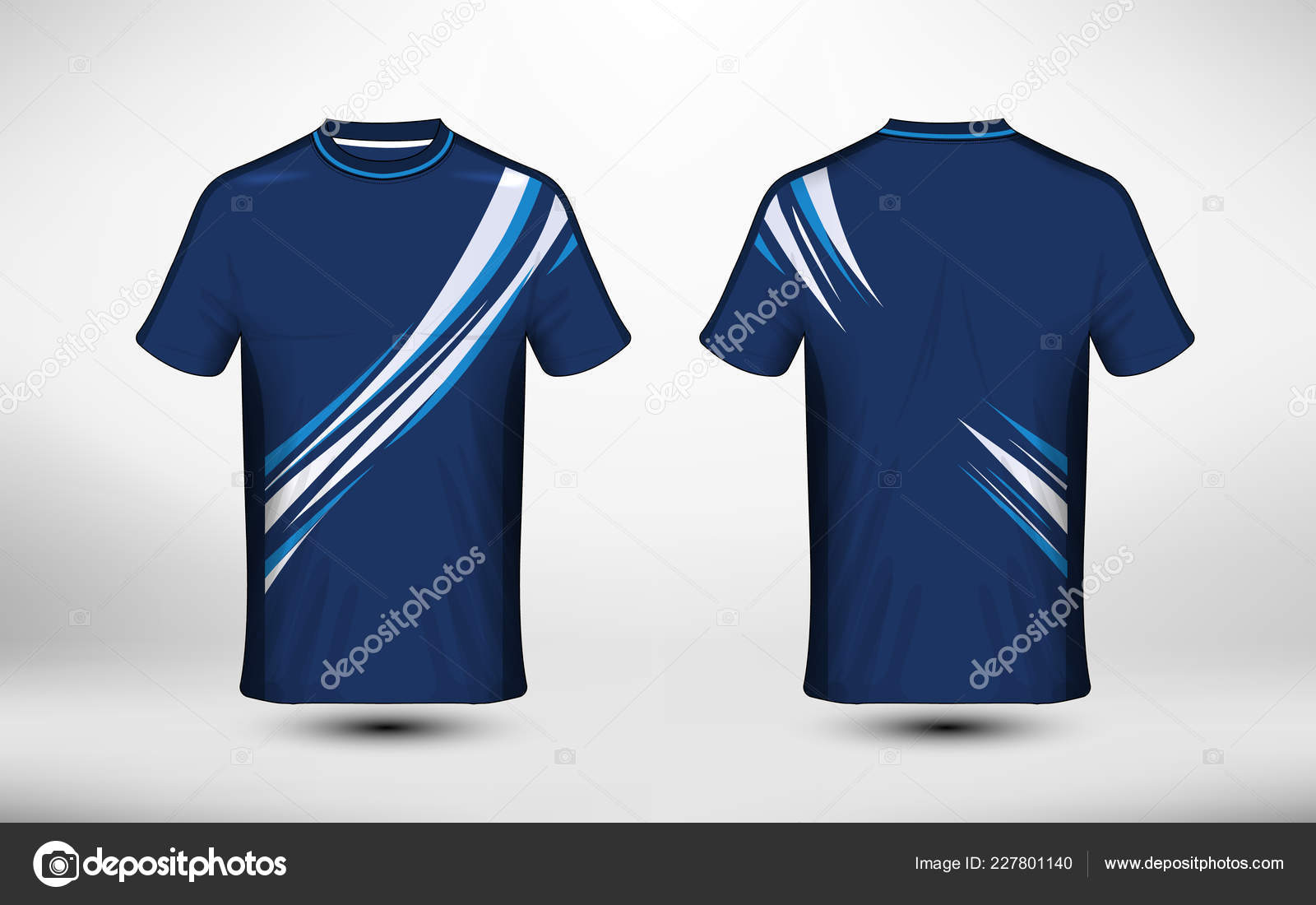Blue White Layout Sport Shirt Design Template Stock Vector