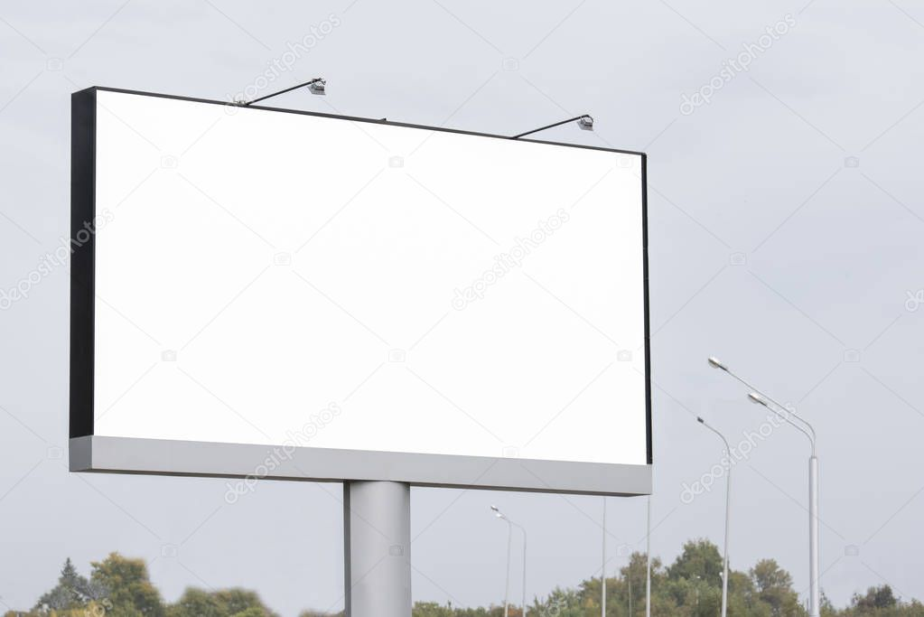 Blank large Billboard against blue sky