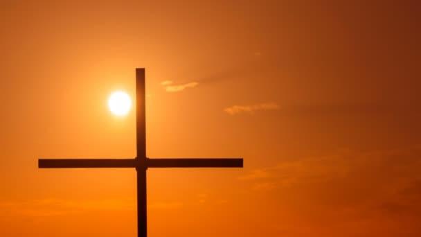 4k. Időközű, Sun, narancssárga ég, Christian Cross
