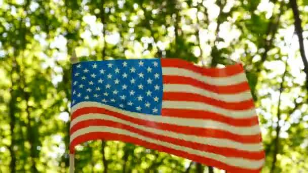 4k. Amerikai zászló erdő zöld háttérben. Szimbólum lövés