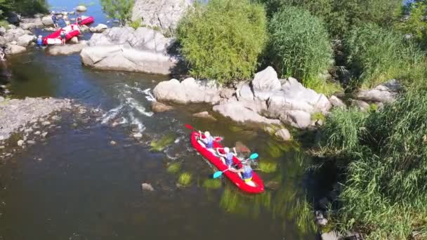 Aerial Shot People White Water Rafting Remove Boat Stones Stock Video