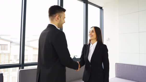 4K. Office work  meeting. Two business partner, man and woman, shake hands  and smile