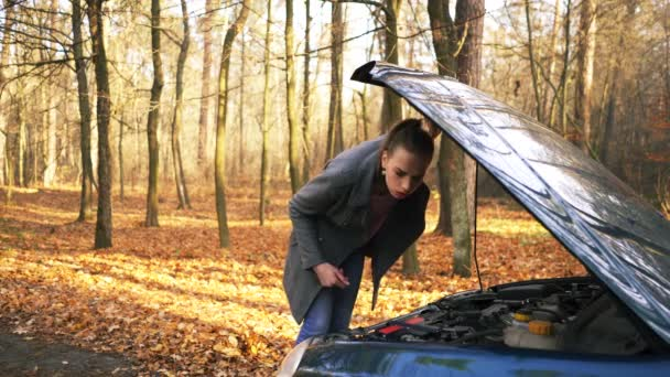 4K.Young attractive woman and car trouble. Bright emotions of girl