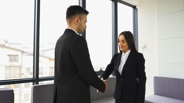 Pretty businesswoman, shake hands with man partner when meeting. Slow motion