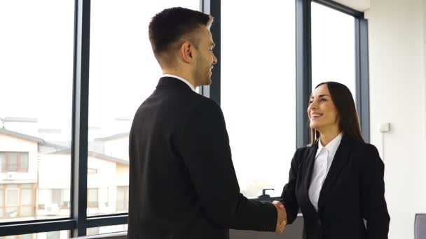 Pretty  smiling businesswoman, shake hands with man partner when meeting. Slow motion, slider shot