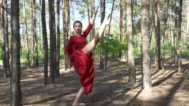 4. érzéki balerina nő piros ruhában táncoló erdei táj. Ugrik. Kortárs táncművész készség.