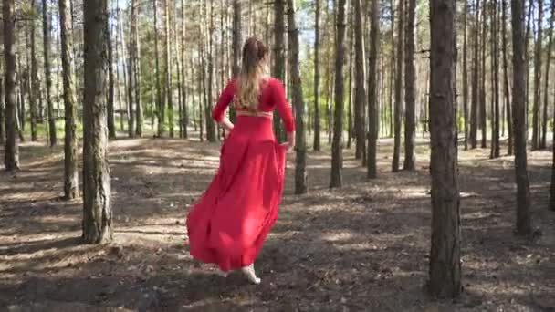 4. Attractive ballerina woman in red dress dancing in  forest landscape. Jumps. Skill contemporary dancer.