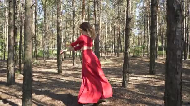 Modern contemporary dancer improvisation. Skill ballerina woman in red dress dancing in  forest landscape.