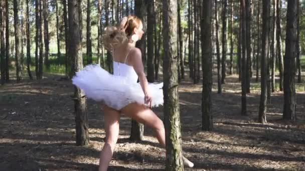 Beautiful woman ballerina in white tutu dancing in forest area, slow motion. Dancer improvisation  ballet team