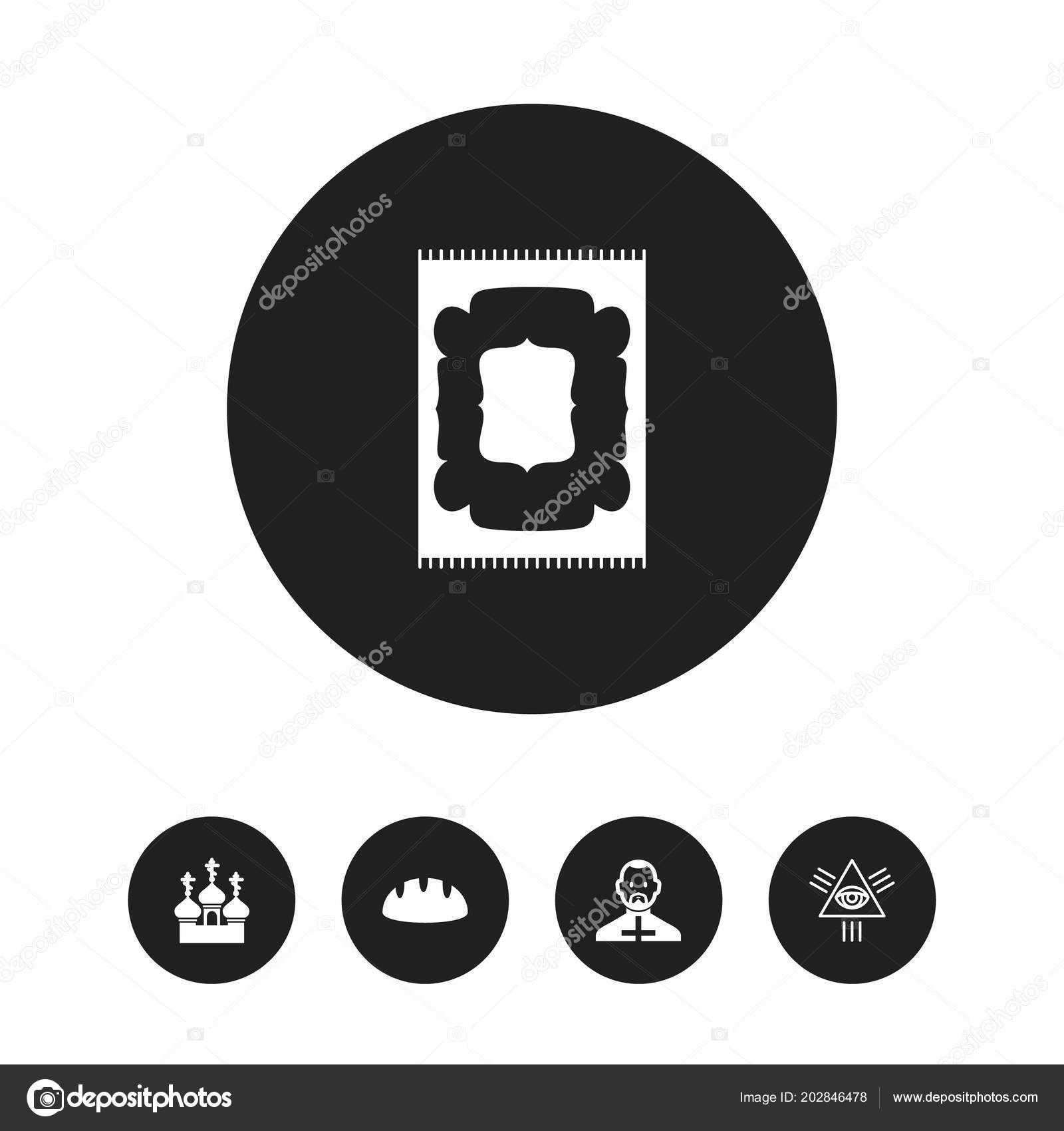 Set Of 5 Editable Religion Icons Includes Symbols Such As Bread