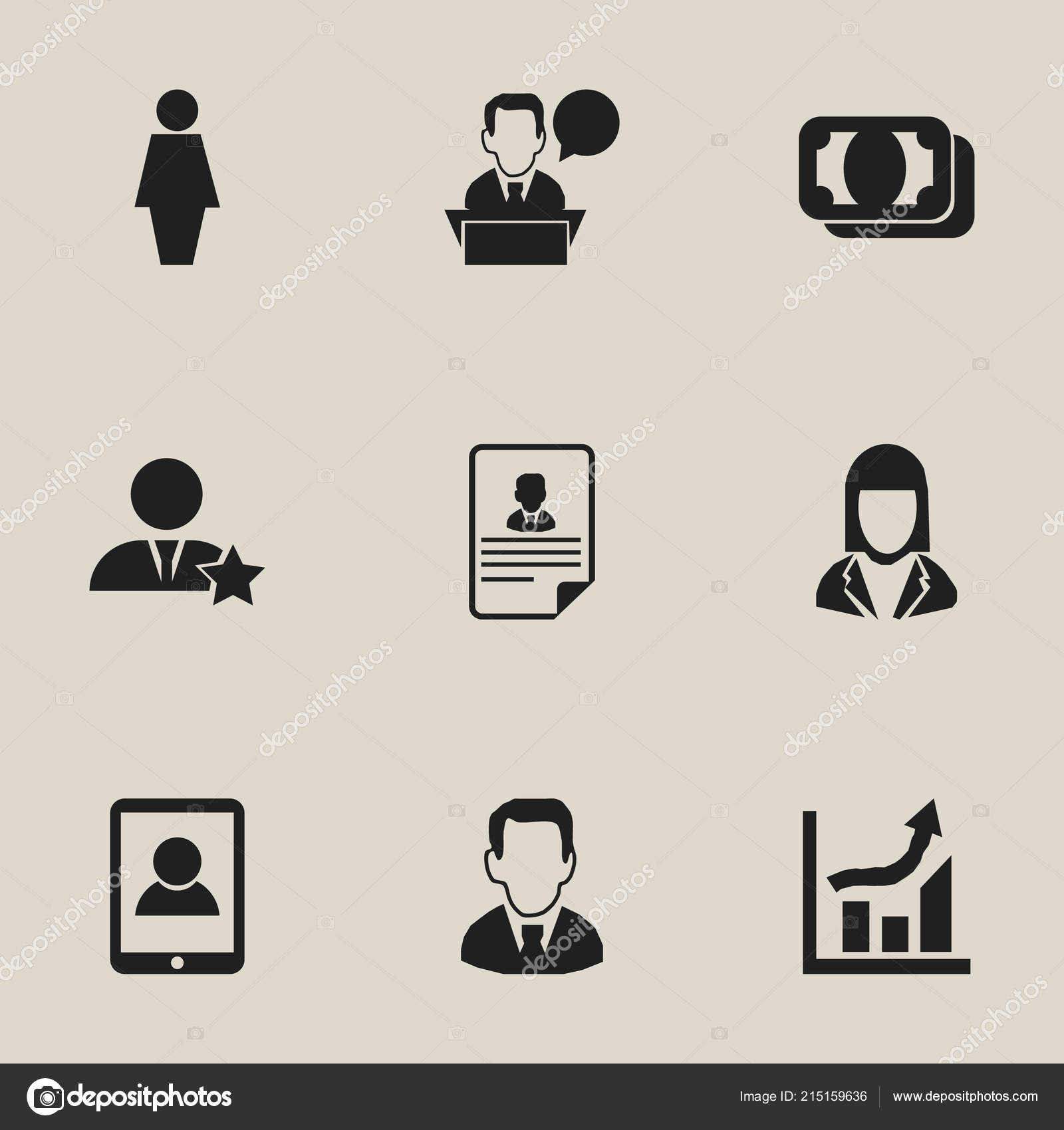 Set of 9 editable business icons. Includes symbols such as money ...