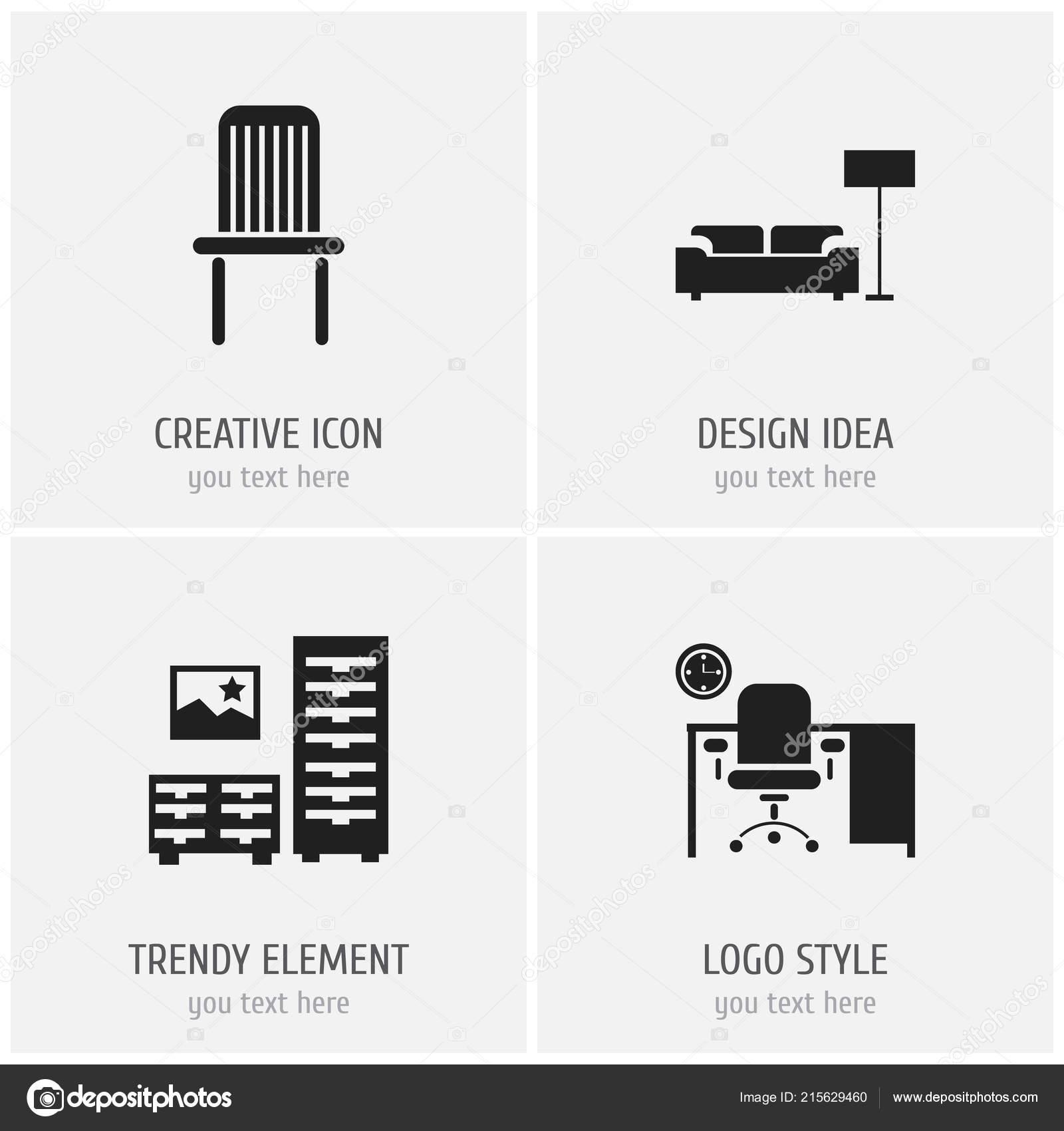 Lounge Stoel Gebruikt.Set Van 4 Bewerkbare Meubels Iconen Bevat Symbolen Zoals Lounge