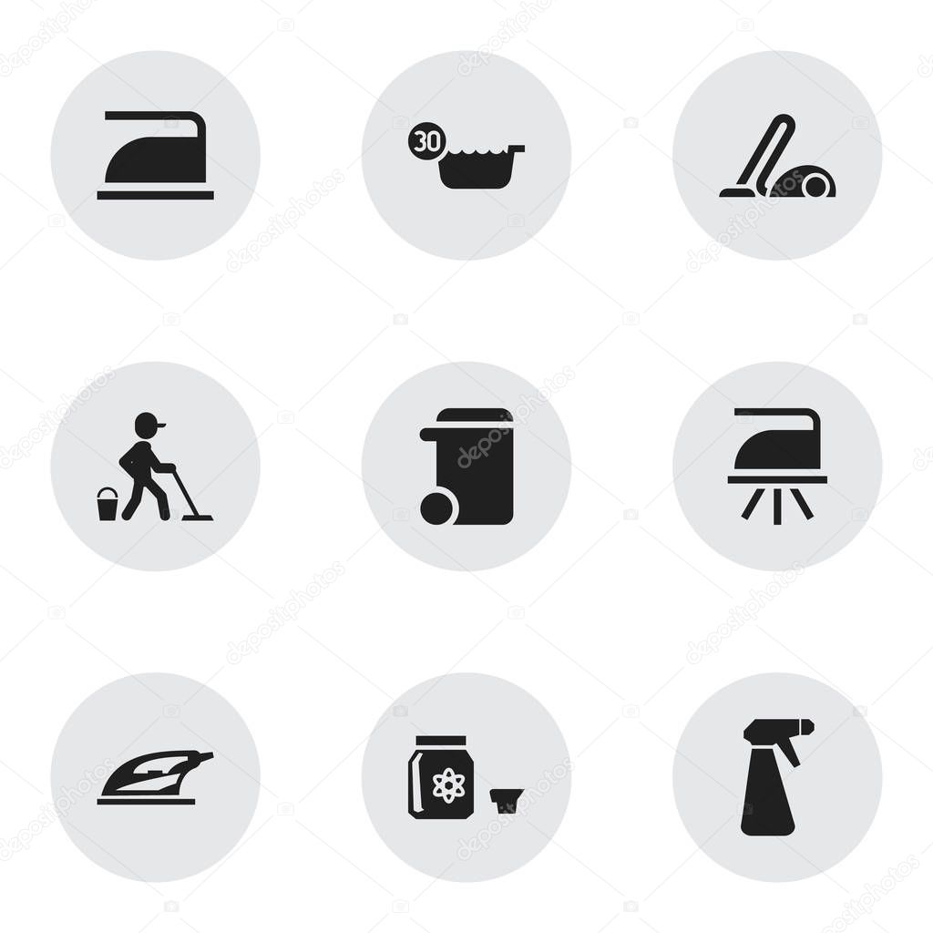 Set of 9 editable cleaning icons. Includes symbols such as pressboard, trash can, hoover and more. Can be used for web, mobile, UI and infographic design.