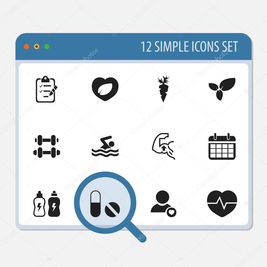 Set of 12 editable training icons. Includes symbols such as energy drink, carrot, calendar and more. Can be used for web, mobile, UI and infographic design.