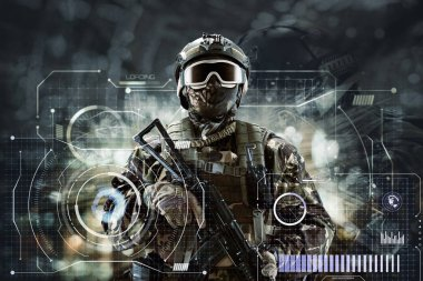 Soldier special forces in glasses with weapons in their hands on a futuristic background.  Military concept of the future. stock vector