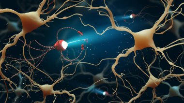 3D Illustration of Human Brain Neurons structure. Medical concept in the field of nanotechnology.