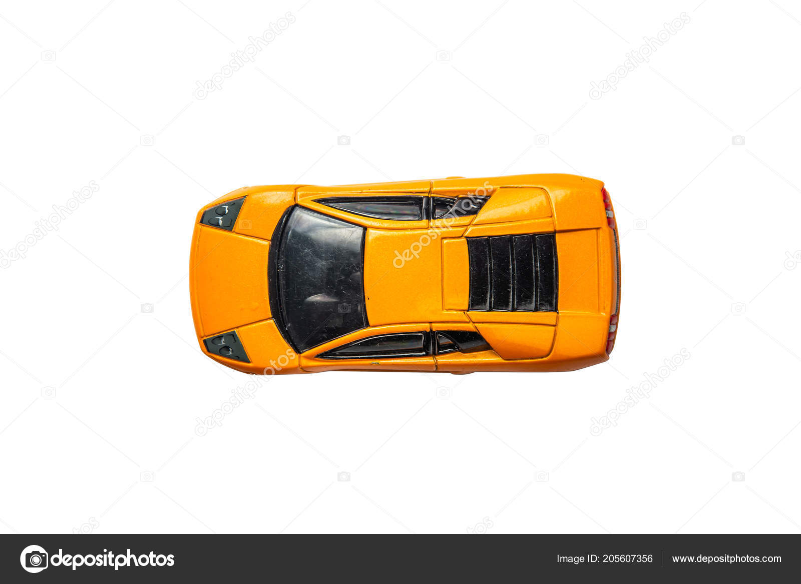 Car Toy Diecast White Background Top View Clipping Path Stock