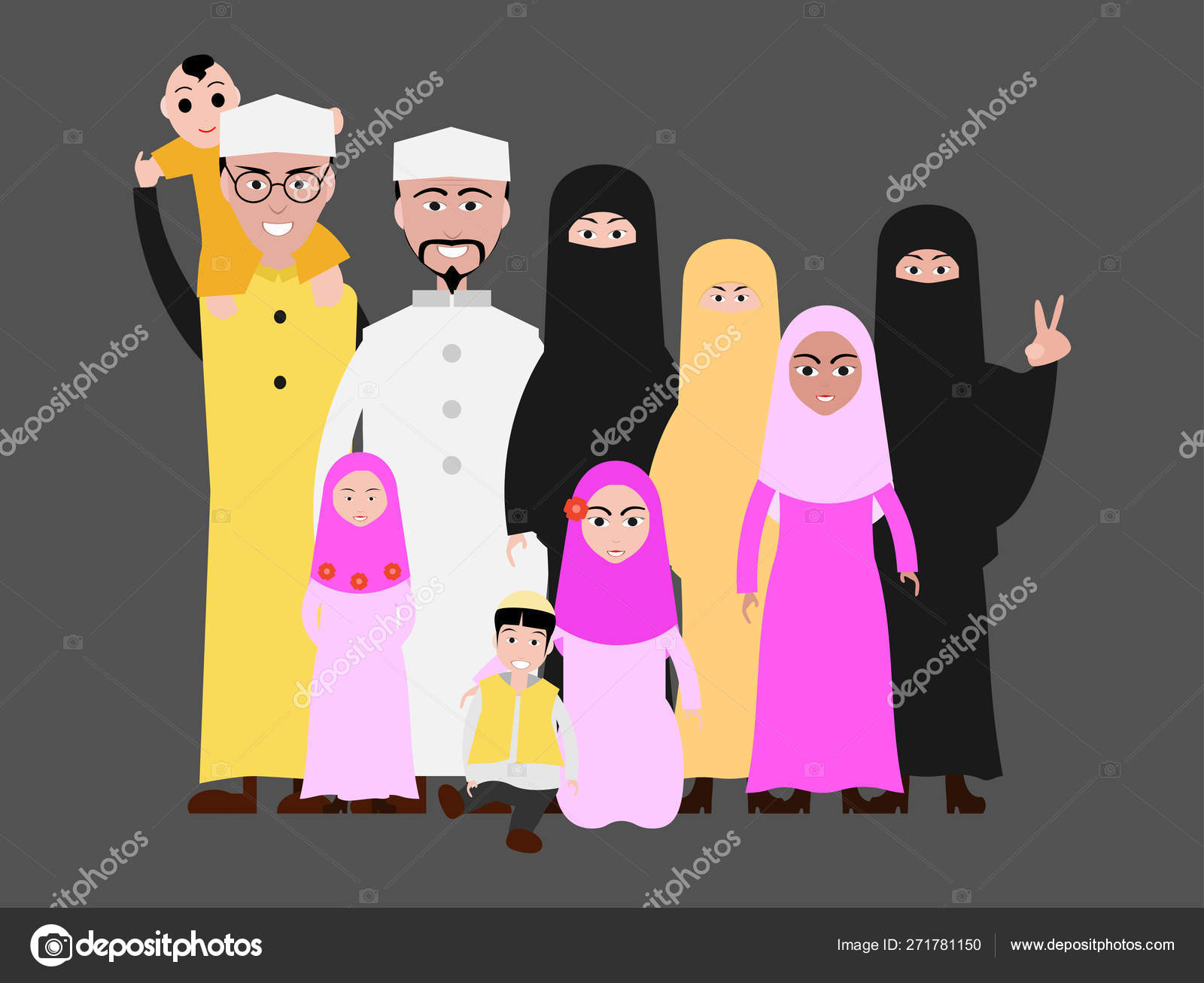 Muslim Family Cartoon Image Islamic Attire Stock Vector C Meenstockphoto Gmail Com 271781150