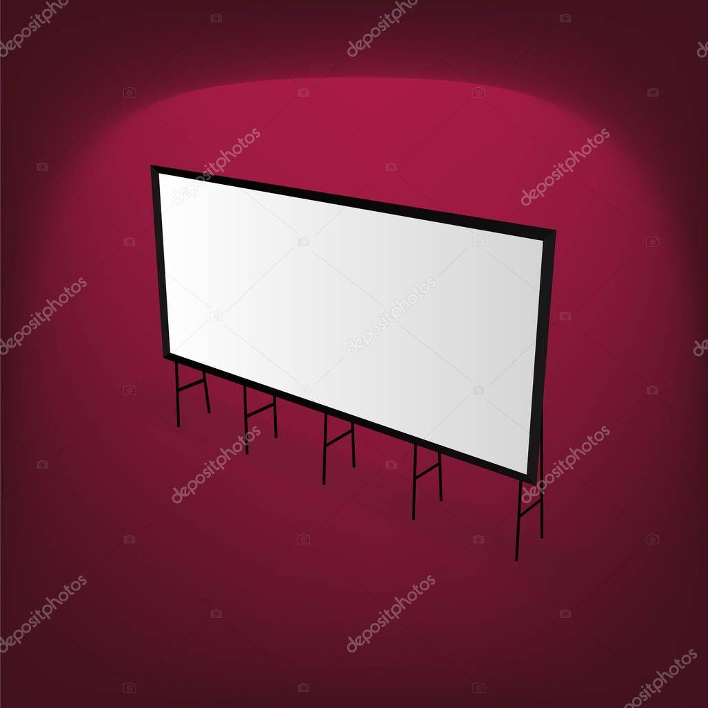 Mock up empty metal billboard vector illustration.