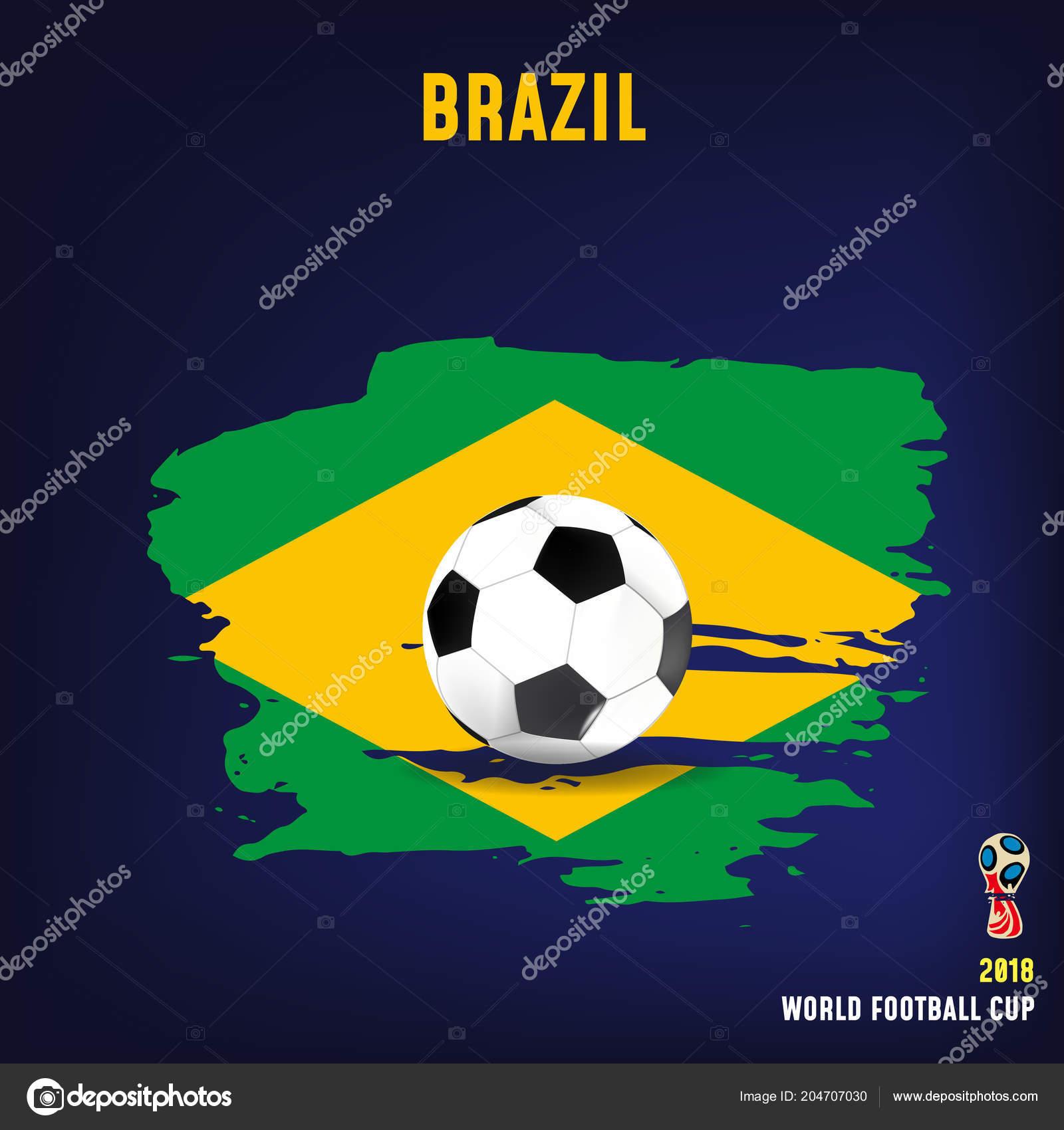 Bola De Futebol Realista Na Bandeira Do Brasil Feita De
