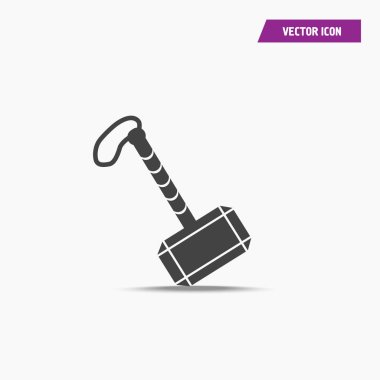 Black war hammer of thor icon in simple design.