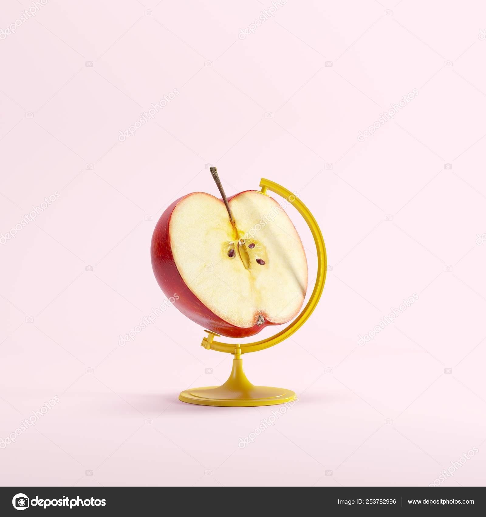 Red Half Apple Concetto Globale Idea Sfondo Pastello Colore Rosa