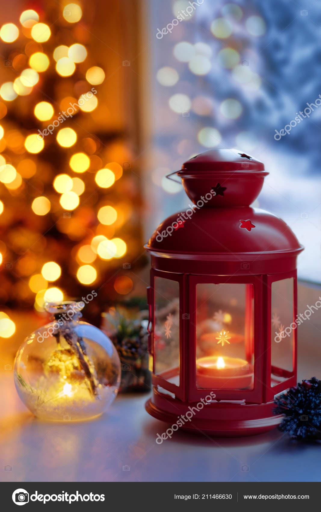 Christmas Lantern Window Candle Lantern Windowsill Evening Lights ...