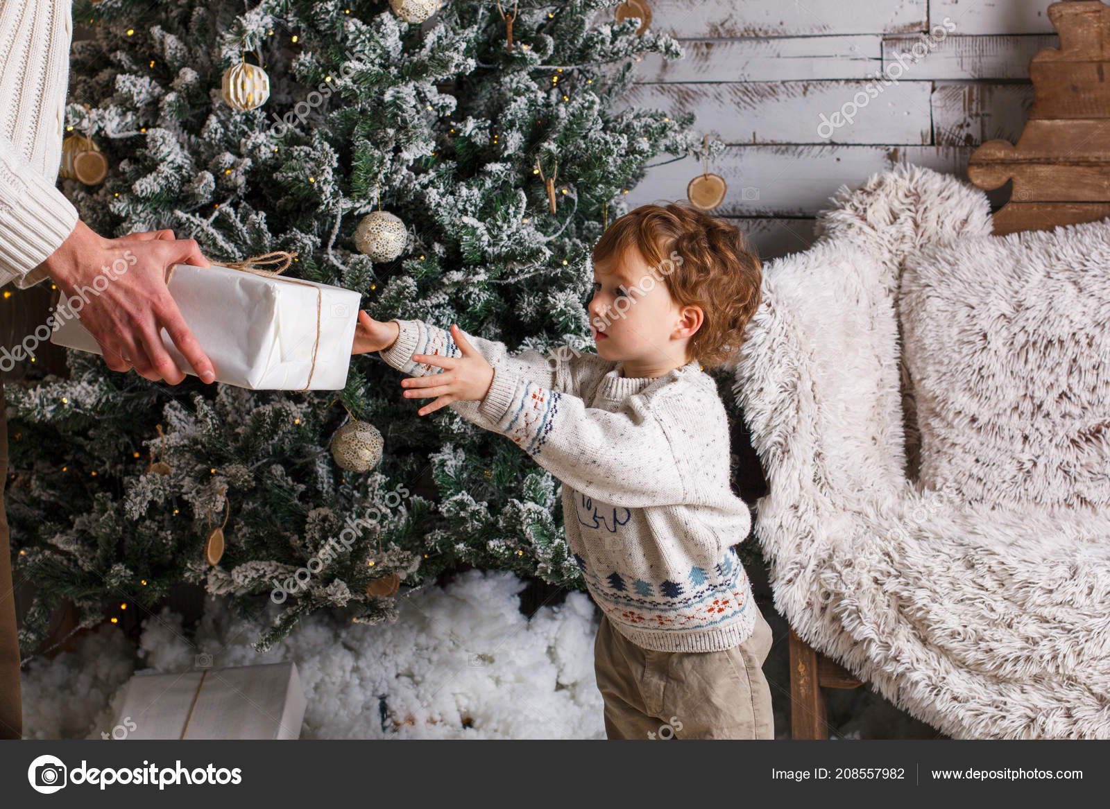 Happy Father Son Holding Christmas Gifts Living Room — Stock