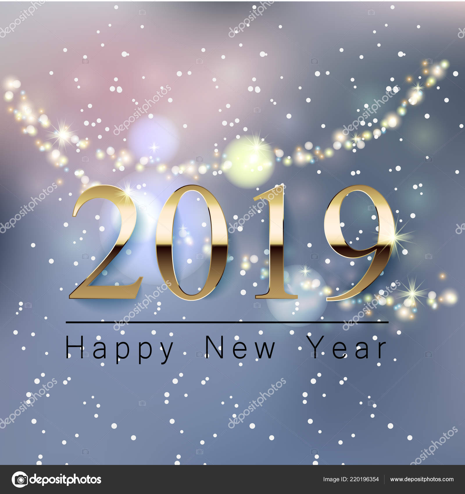 A beautiful New Year greeting banner with a blurred background, a ...