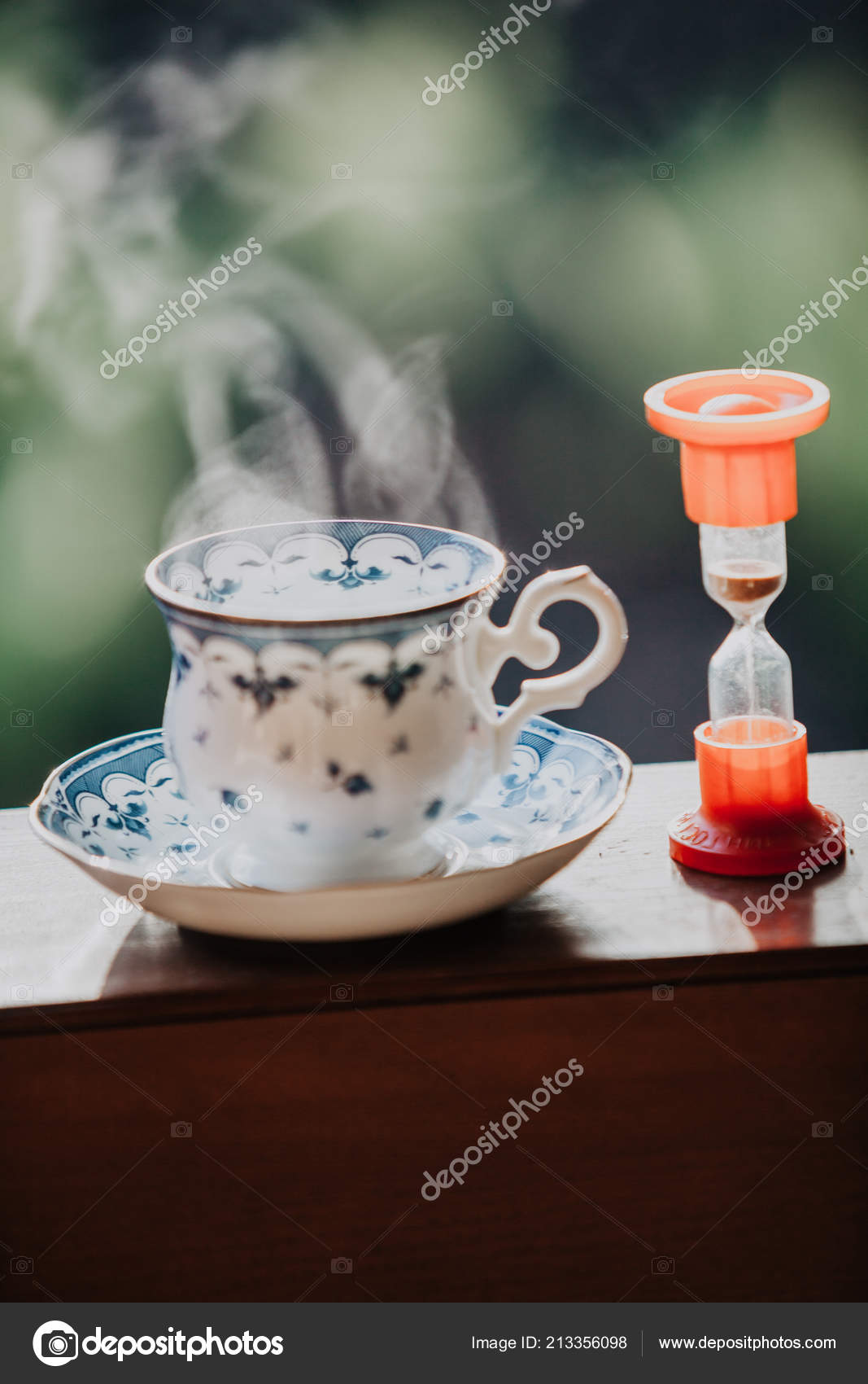 Time Drink Tea Neat Cup Tea Blue Pattern Saucer Stand Stock Photo