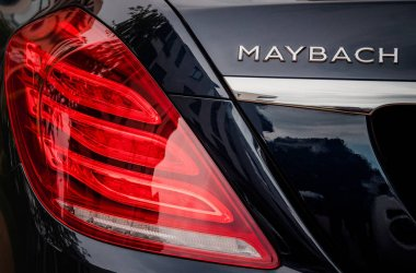 Rear view of luxury Maybach car on street