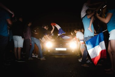 STRASBOURG, FRANCE - JULY 10, 2018: Rodeo with cars - unique French celebration after the victory of France qualify for the final of the 2018 FIFA World Cup after their victory
